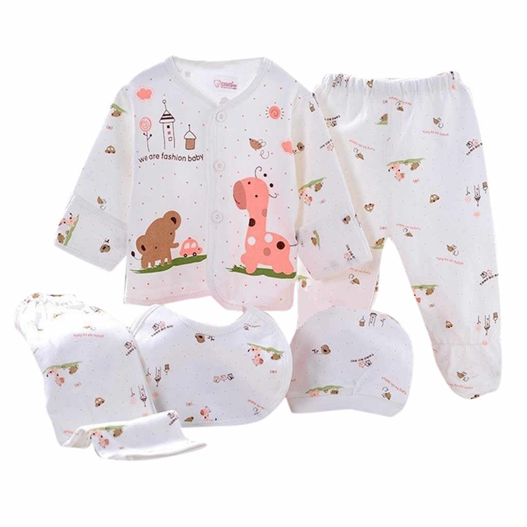 Telotuny Pakaian 5 Pcs Bayi Anak Laki-laki Gadis Kartun Atasan Lengan Panjang + Topi + Celana + Bib Pakaian Set bayi Kasual Baru NOV20