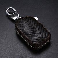 Key Bag Genuine Leather Car Key Wallets Unisex Key Holder Housekeeper Keys Organizer Keychain Covers Zipper Key Case Pouch Purse