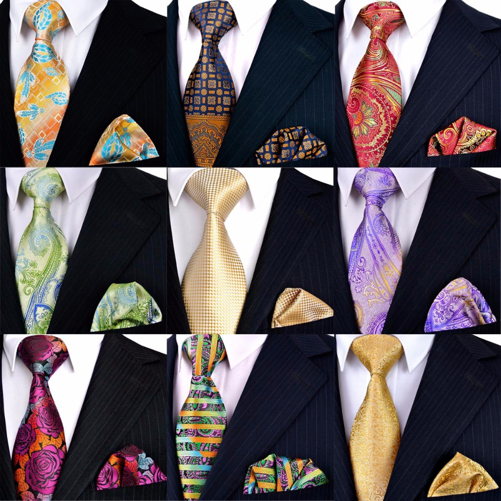 Assorted Wholesale Tie Set Mens Neckties Hanky 100% Silk Multicolor Pattern Paisley Checked Floral Stripe Dots Free Shipping