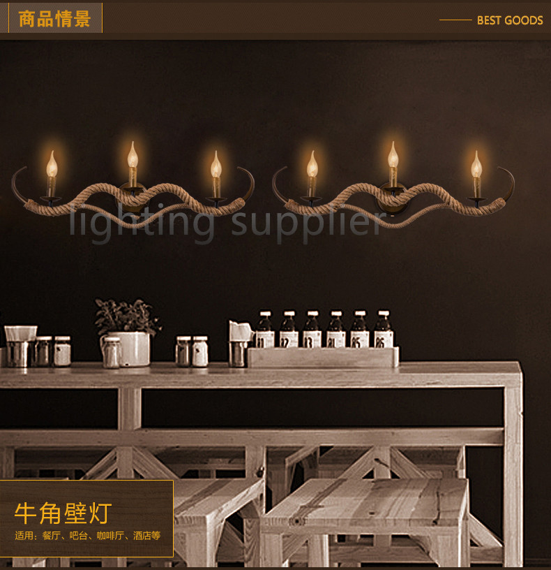 loft hemp rope wall lamp vintage Creative personality decorative wall sconce restaurant hallway stairs 3d decorative personality creative removable wall sticker