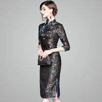Chinese dress Women cheongsam qipao Top dresses traditionalChina Wedding Dress modern 2018 dress Black flowers cheongsam
