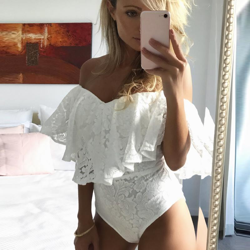 Women Summer Fashion Lace Fashion Sexy Lotus Leaf Sleeves Off Shoulder Jumpsuit Bodysuit Playsuit Rompers Female