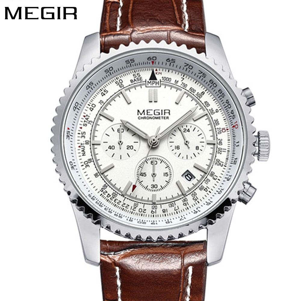 MEGIR Mens Watches Top Brand Luxury Casual Fashion Quartz Watch Sport Wristwatch Mens Leather Strap Male Clock relogio masculino nakzen men watches top brand luxury clock male stainless steel casual quartz watch mens sports wristwatch relogio masculino