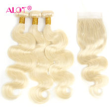 Alot Brazilian 613 Body Wave Human Hair Bundles With Closure Non Remy Honey Blonde Hair Extension With Transparent Lace Closure(China)