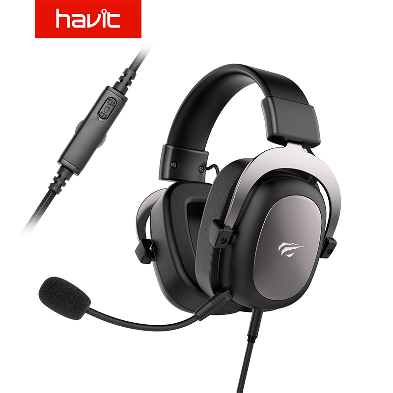 HAVIT Wired Headset Gamer PC USB 3.5mm PS4 Headsets Surround Sound & HD Microphone XBOX One Gaming Overear Laptop Tablet Gamer steel casing pipe