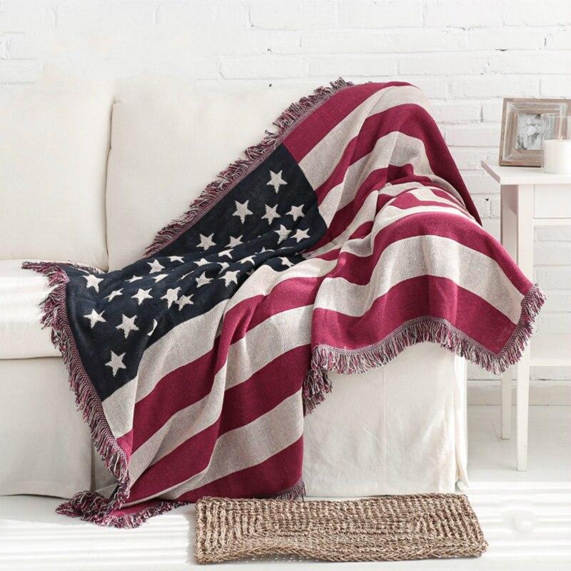 Drapeau américain qualité couverture mot flux Sumi couverture décorative sur lit Pad variété fonction tricot canapé épais jet maison