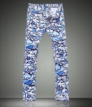 Fashion Geometric Paisley Print Men Jeans Fashion Slim Pencil Trousers