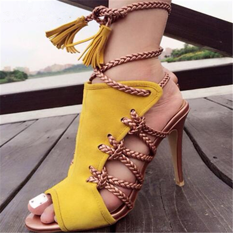 Fashion Yellow Rope Women Summer Sandals Lace Up High Heels Peep Toe Hollow Out Women Shoes Cross Tied Stilettos Zapatos Mujer [expensive] supply truck rather tight rope tensioner tied up with tight rope tied with wholesale
