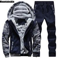 Mountainskin Winter Men's Hoodies Set Fleece Thick Jackets Pant Tracksuits Male Sweatshirt Casual Men Camouflage Coats 5XL SA138