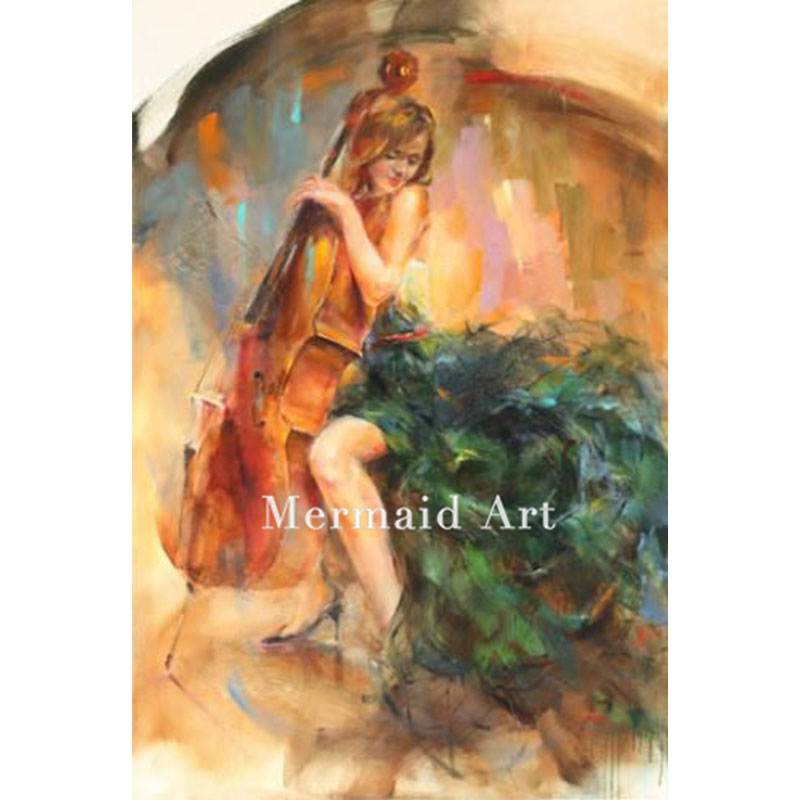 Hand Painted High Quality Abstract Cello Girl Living Room Artwork Oil Painting Canvas Wall Decoration Fine Art Modern DancerHand Painted High Quality Abstract Cello Girl Living Room Artwork Oil Painting Canvas Wall Decoration Fine Art Modern Dancer
