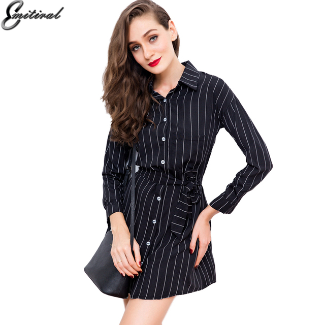 9831730a5fb Emitiral 2017 Fashion Ladies Casual Dresses Vertical Stripes Dresses Long  Sleeves Elegant Classic Black White Color Mini Dress