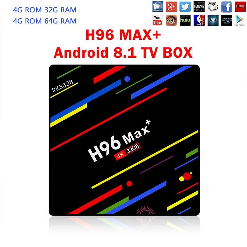 H96 MAX plus 4 gb 64 gb Android 8.1 TV Box RK3328 Quad Core 4g/32g USB 3.0 Smart 4 karat Set Top Box Media Player Box Youtube Netflix