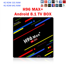 H96 MAX plus 4GB 64GB Android 8.1 TV Box RK3328 Quad Core 4G/32G USB 3.0 Smart 4K Set Top Box Media Player Box Youtube Netflix цена