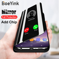 BoeYink Smart Chip Touch Flip Stand Case For Samsung Galaxy Note 9 8 5 S9 Plus S8 S7 Edge S6 Edge S8 S9 Plus Clear View Cover