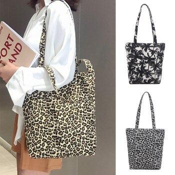 Summer 2019 Small Handbag Unisex Canvas Messenger Printing Leopard  Shopping Bag Messenger Bag Handle schouder tassen Bag