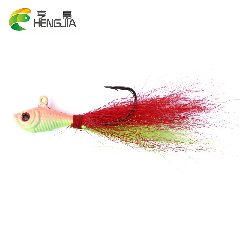 11 Tied Bucktail Dressed Treble Hooks Size 10 Red Yellow Hair Feather jig bass