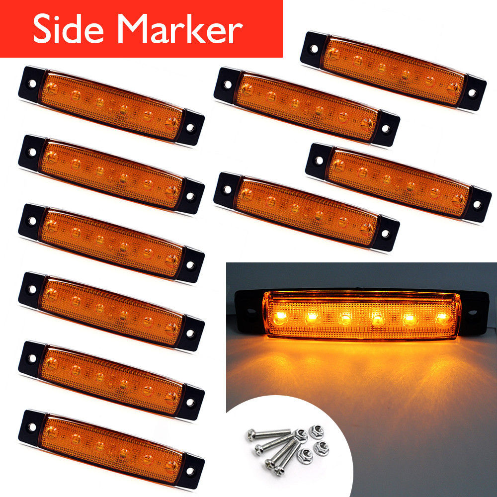 10Pcs 12V 24V 6 LED Side Marker Indicators Lights Lamp For Car Truck Trailer Lorry Amber Clearence Lamp Bus 10pcs 6 led red white green blue yellow amber clearence car truck bus lorry trailer side marker indicators light lamp 12v 24v