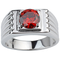 Vogue Simulated Red Garnet 925 Sterling Silver Rings White Gold Finish Wedding Rings for Men 8.0mm Cubic Zirconia Jewelry R516