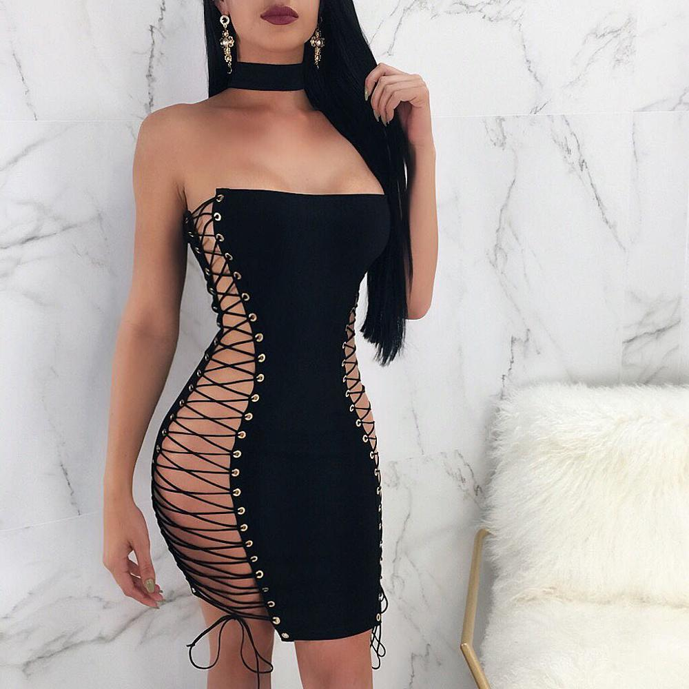 Women Sleeveless Hollow Out Bodycon Mini Dress Sexy Double Sided Lace up Chest Slim Dress in Dresses from Women 39 s Clothing