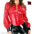 Escola sexy vermelho senhora parte superior da camisa blusa manga longa uniforme de borracha gummi látex roupas clothing plus size xxxl