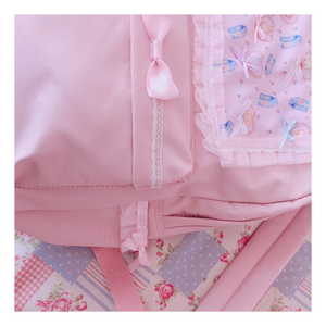 Image 4 - Original Japanese Soft Girl Backpacks Pink Cute Lace Bow Bags  Kawaii Ladies Nylon Backpack Students Daily Girl Style Back Pack