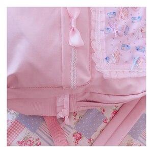 Image 4 - Original Japanischen Weichen Mädchen Rucksäcke Rosa Nette Spitze Bogen Taschen Kawaii Damen Nylon Rucksack Studenten Täglichen Mädchen Stil Zurück Pack