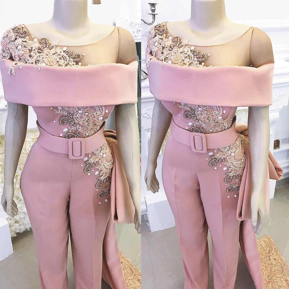 SuperKimJo Luxury Jumpsuits for Women Long Mermaid Pink Beaded Crystals Elegant Pants for Weddings Evening Party Dresses