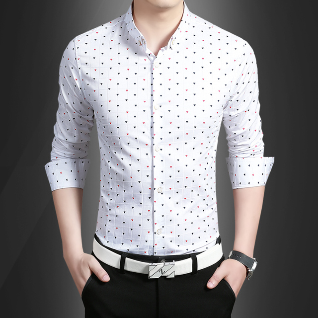 Men's Clothing of new spring 2016 men's shirts slim shirt male cotton casual tide fashion dot men's shirt free shipping