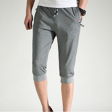 2019 summer new mens cotton casual pants draw rope stretch sports zipper pocket decoration large size S-4XL cropped trous