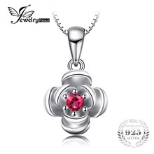 Jewelry Accessories - Fine Jewelry - JewelryPalace Promise Love Rose-In-Bloom Created Ruby Women Pendants 925 Sterling Silver Charms Brand Fine Jewelry Without Chain