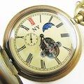 Старый!!! Латуни 100% Античная Moonphase Механические Карманные Часы freeship круто