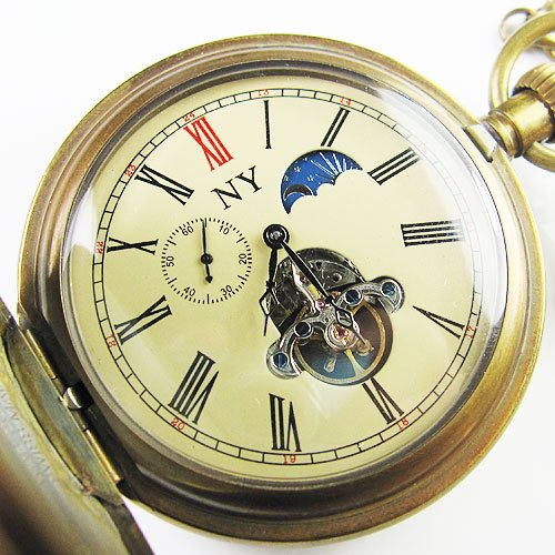 old !!!100% Brass Antique Moonphase Mechanical Pocket Watch freeship cool rare archaize 5 hands mechanical pure brass pocket watch freeship