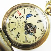 old !!!100% Brass Antique Moonphase Mechanical Pocket Watch freeship cool