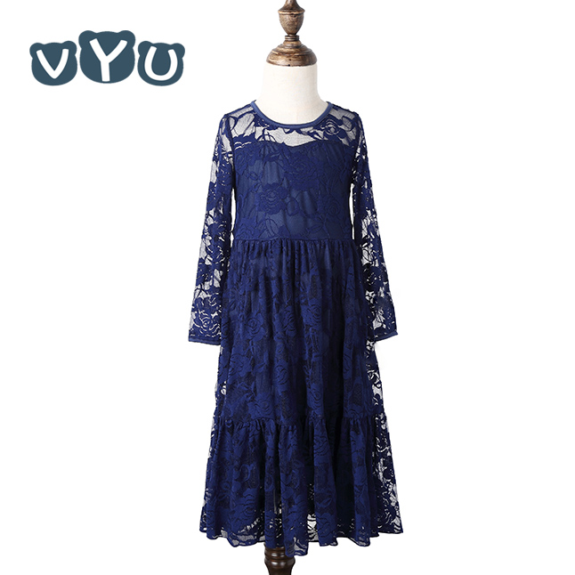 VYU Girl Sweet Flower For Age 2-12 Baby Kids Princess Wedding Party Full-length Prom Dress Big Bow Long Sleeved Lace Dress купить дешево онлайн