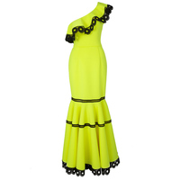 Women One Shoulder Mermaid Dress Long Yellow Ruffled Fishtail Backless Dress Sexy Floor Length Evening Party