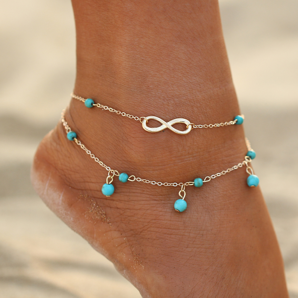 Trendy Double layers beads Pendant number anklet for  2 Colors Foot Link Chain female Beach Elegant  Bijoux