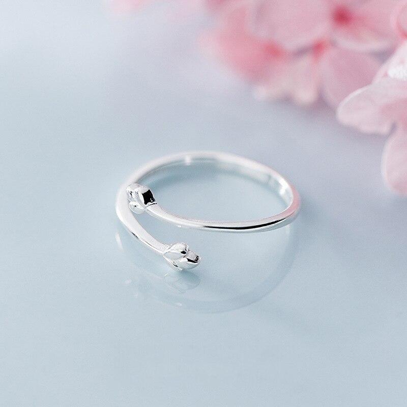 100% стерлингового серебра 925 Нежный Три ветка с листьями спираль Открытые Кольца для женщин Laydy Girl Регулируемый ювелирный подарок - 5