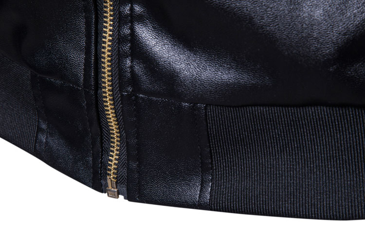 2018 Brand Man Zipper Leather Jackets Pu Leather Collar Embroidered Leather Jacket Men Black Motorcycle Leather Jacket XXL
