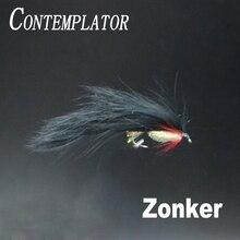 цена на CONTEMPLATOR 4pcs 10# Black Zonker small baitfish fly fishing trout pike lures imitating minnow/leech streamers fishing baits