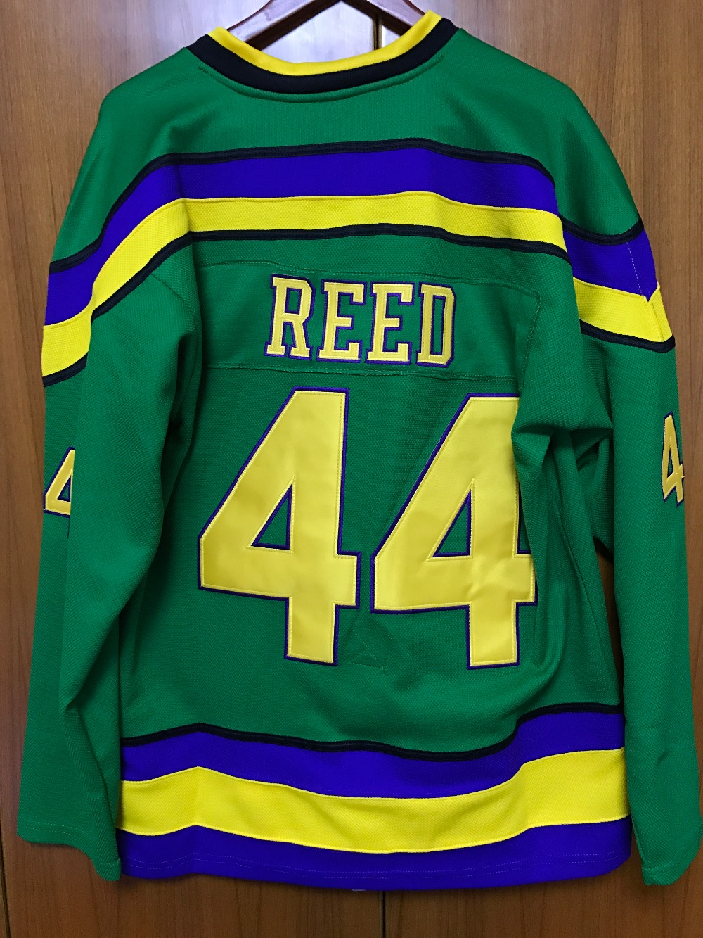 The Mighty Ducks Movie Jersey  44 Fulton Reed Hockey Jersey Stitched c3943e24553
