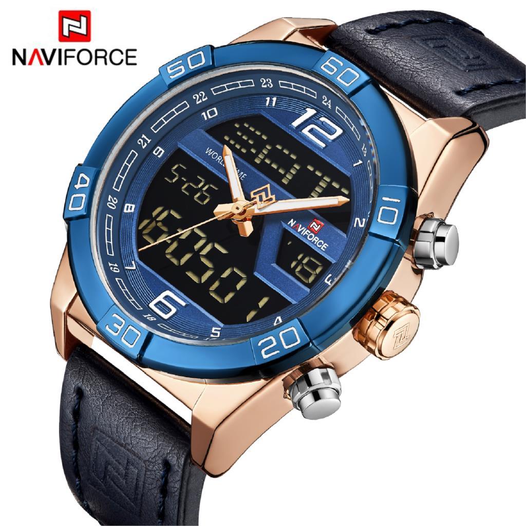 NAVIFORCE De Luxe Marque Hommes De Mode Sport Montres Hommes de Quartz Étanche Date Horloge Homme En Cuir Armée Militaire Montre-Bracelet 2019