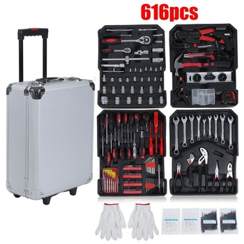 616 Pcs High Precision Aluminium Alloy Case Box Set Household Multi Repair Tool Pliers Screwdriver With Wheels Toiletry Kits new