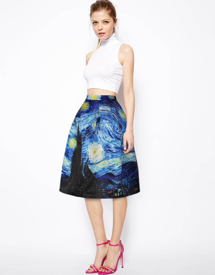 Summer Fashion Above Knee Skirt Casual Skirts High Waist Van Gogh s Starry  Night Print Skirts for 903284096ecb