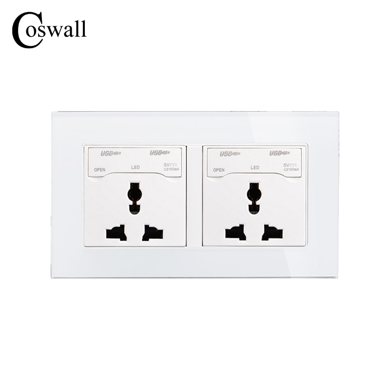 COSWALL 146 UK Universal Double Wall Socket with 4 USB Charge Port For Mobile Output 5V 2100mA Crystal Tempered Glass Panel стиральная машина lg f12b8qd5 rus серебристый
