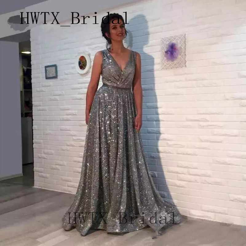 Bling Silver Gray Sequined Mother of the Bride Dresses Plus Size Saudi  Arabic V Neck A Line Dubai Long Women Formal Gowns 2019
