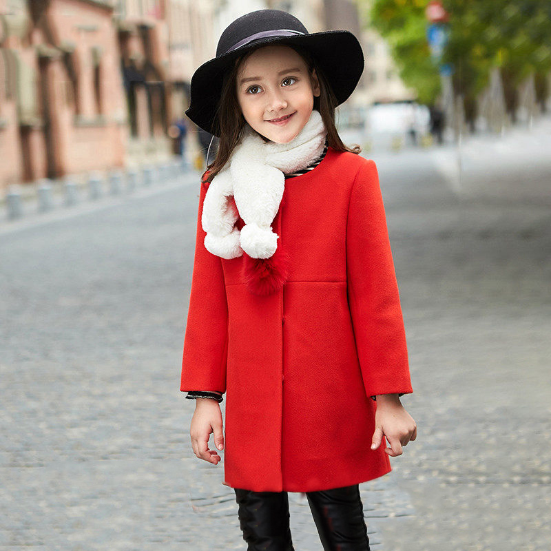 2017 Kid's Winter Jacket Wool Coat for Children Shcool Girls Red Color Windbreaker Furry Ball Age 456789 10 11 12T Years Old 2017 girls children hoodies winter wool