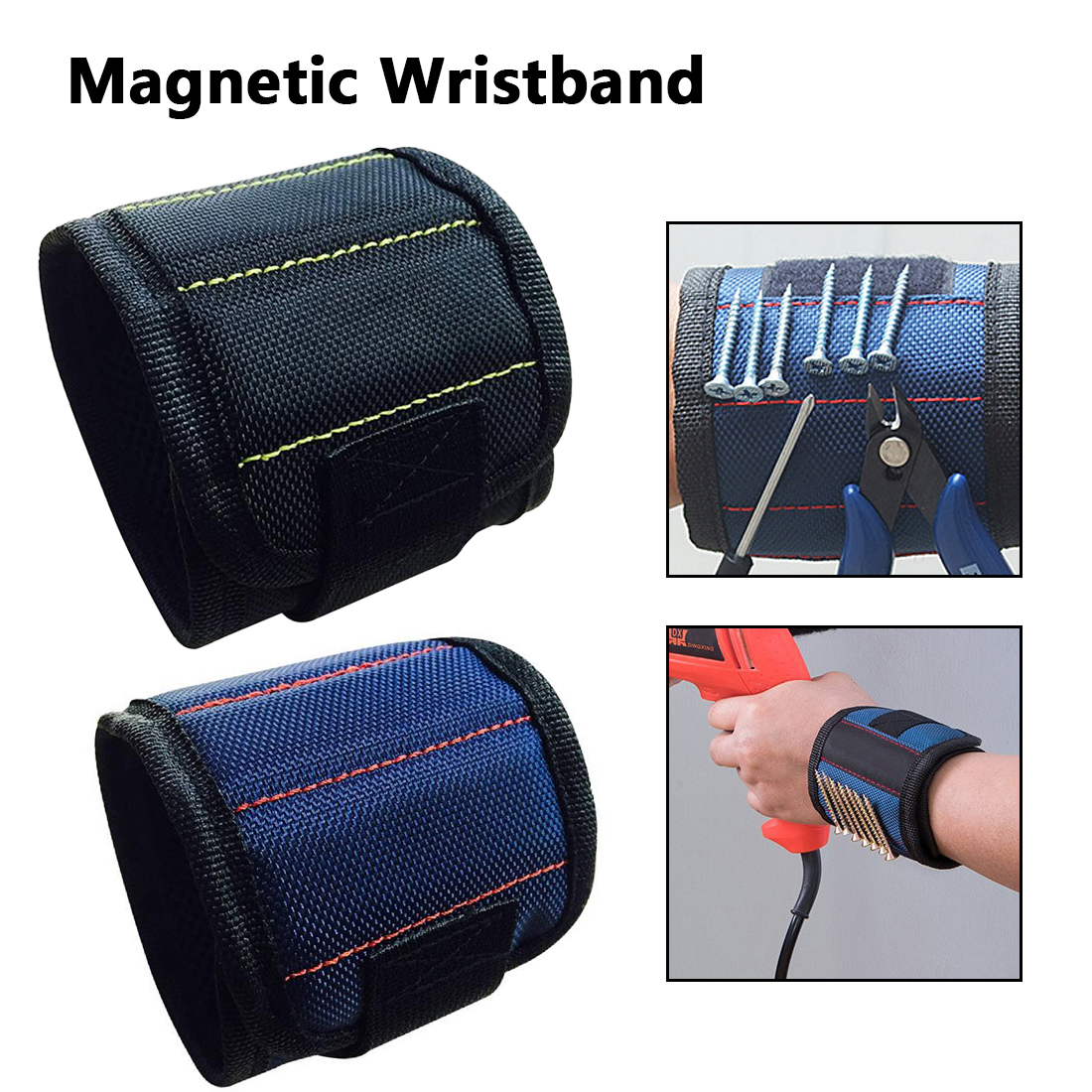 370mm Nylon Wrist Strong Magnetic Nail Screw Drill Bit Holder Wristband Holding Hand Tool Bag Bracelet Belt Car Auto Repair Kit