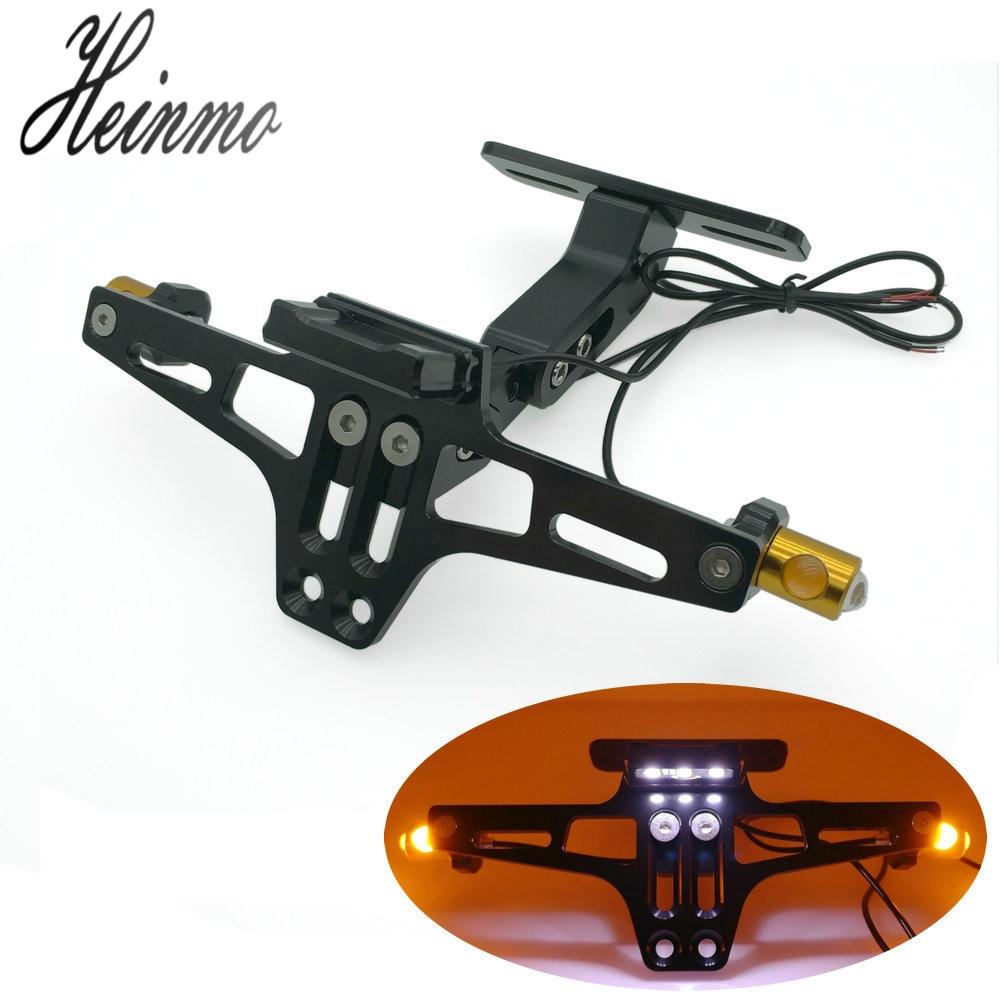 Universal Adjustable Motorcycle License Plate Frame Licence Holder Motorcycle Number Plate Holder With Turn Single Lights