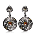Siam red crystal jewelry earring plated by black and gold setting with square red and clear zirconia Classic dangle earrings