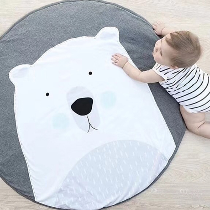 Cartoon Animals Play Mats Puzzle Toys For Children Baby Kids Crawling Pad Round Carpet Rug Soft Cotton Blanket Room Decoration | Happy Baby Mama